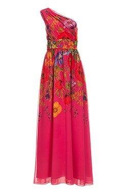 strapless pink floral lace dress with a ruffle hem.