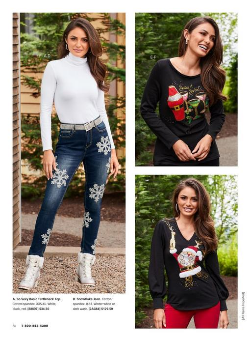 left model wearing a white long sleeve turtleneck top, silver rhinestone belt, snowflake embellished jeans, and silver lace-up faux-fur booties. top right model wearing a black martini embroidered sweater. bottom right model wearing a black v-neck santa embroidered sweater.