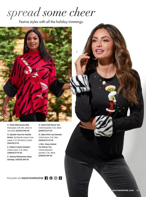 """left model wearing a red zebra striped faux fur cuff sweater with """"joy"""" written across. right model wearing a black sweater with zebra faux fur cuffs and mrs. claus on the front."""