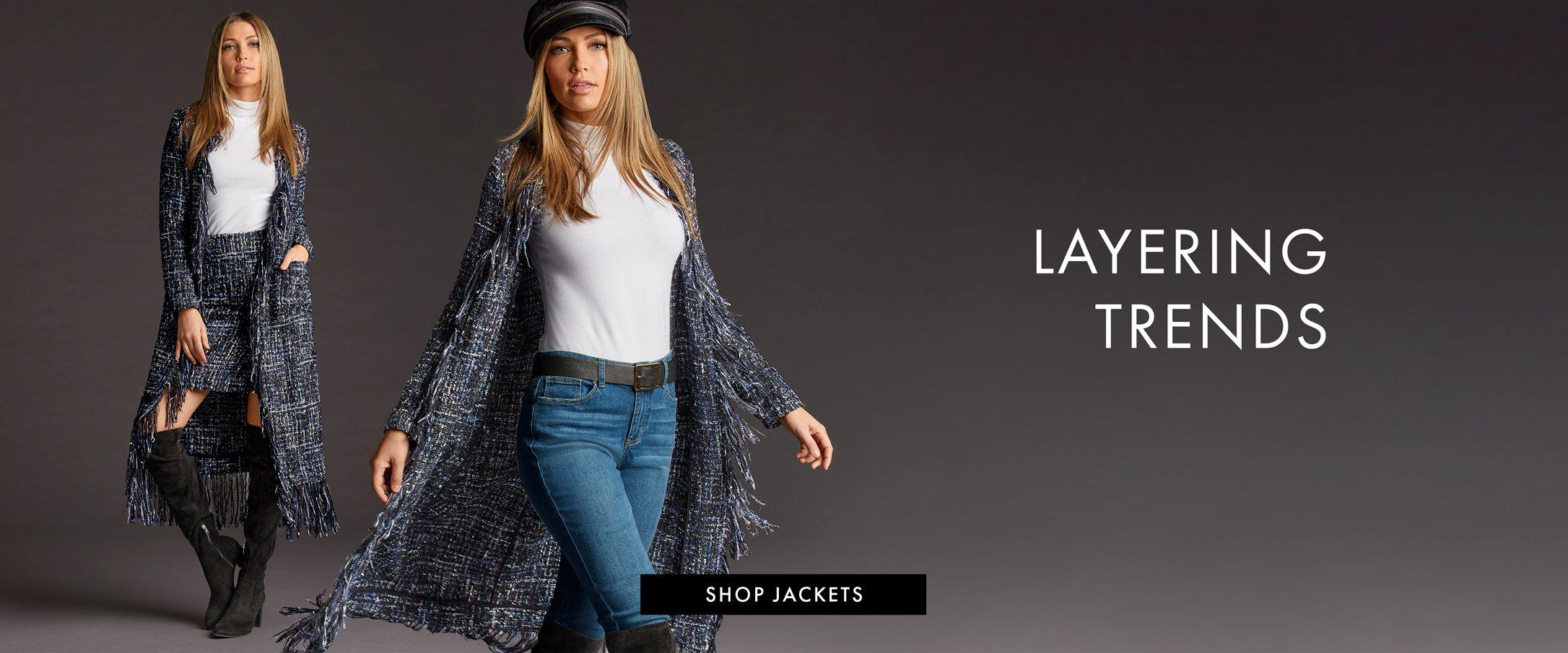 left model wearing a navy tweed fringe duster, white turtleneck top, navy tweed skirt, and black over-the-knee boots. right model wearing a black hat, white turtleneck top, navy tweed fringe duster, black belt, jeans, and black over-the-knee boots. right text: layering trends. shop jackets.