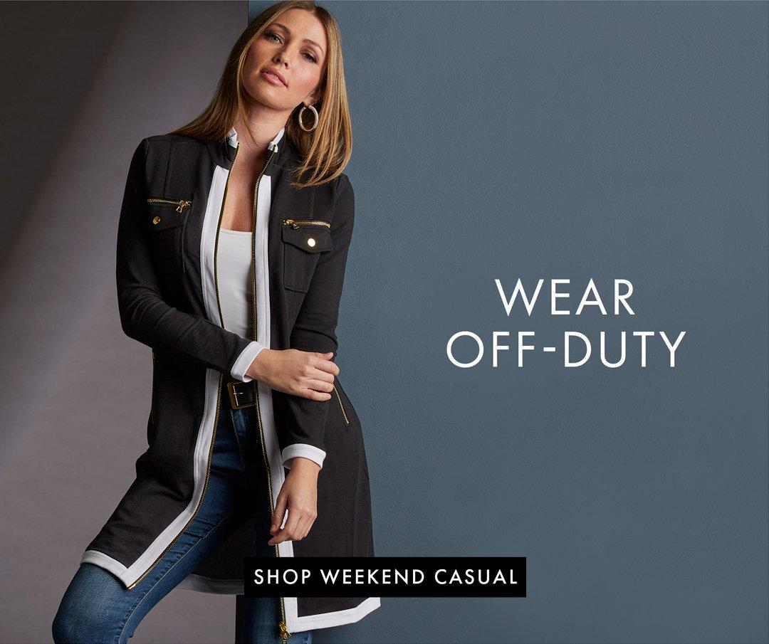 model wearing a black and white chic-zip duster, white tank top, jeans. right text: wear off-duty. shop weekend casual.