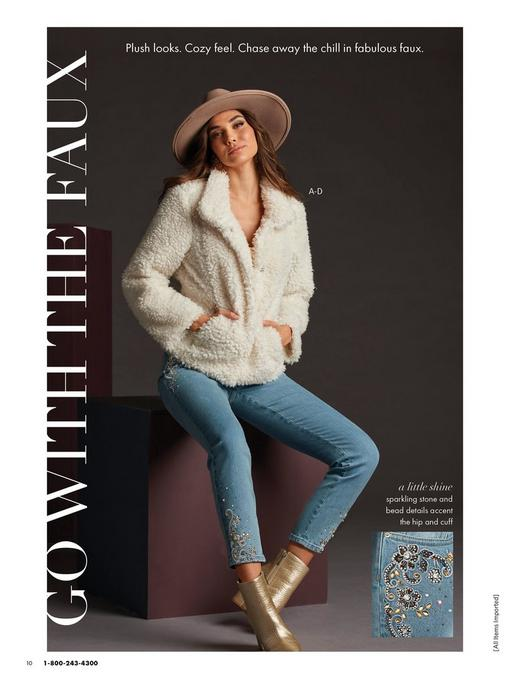 model wearing a white short teddy coat, gold embellished ankle jean, taupe hat, and gold metallic heeled booties.