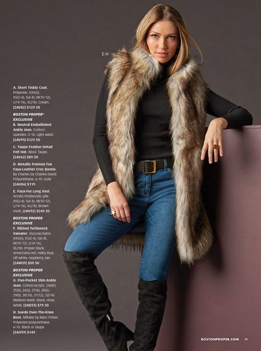 model wearing a faux-fur vest, black ribbed turtleneck sweater, jeans, black belt, and black over-the-knee boots.
