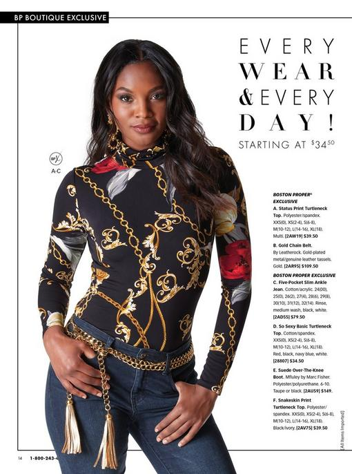 model wearing a black status print turtleneck long-sleeve top, gold chain belt, and jeans.