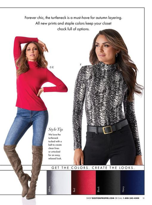 left model wearing a red turtleneck long-sleeve top, jeans, and taupe over-the-knee boots. right model wearing a snakeskin print turtleneck long-sleeve top, black belt, and black jeans.