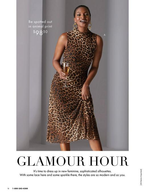 model wearing a mock-neck animal print sleeveless ruched dress and gold earrings.