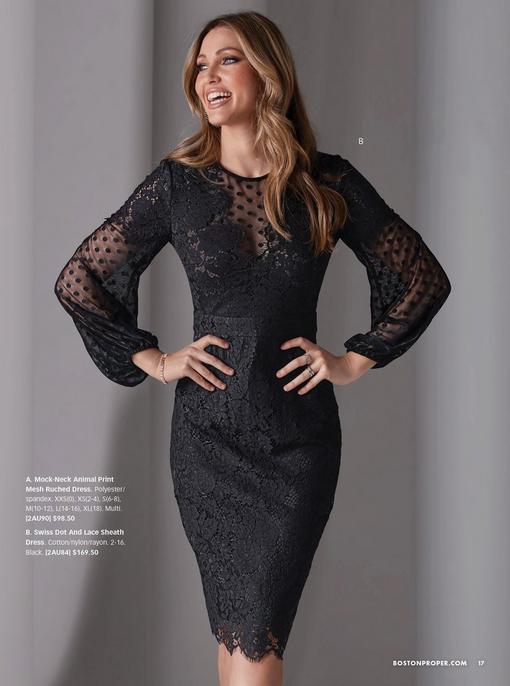 model wearing a black lace and swiss-dot long-sleeve sheath dress.