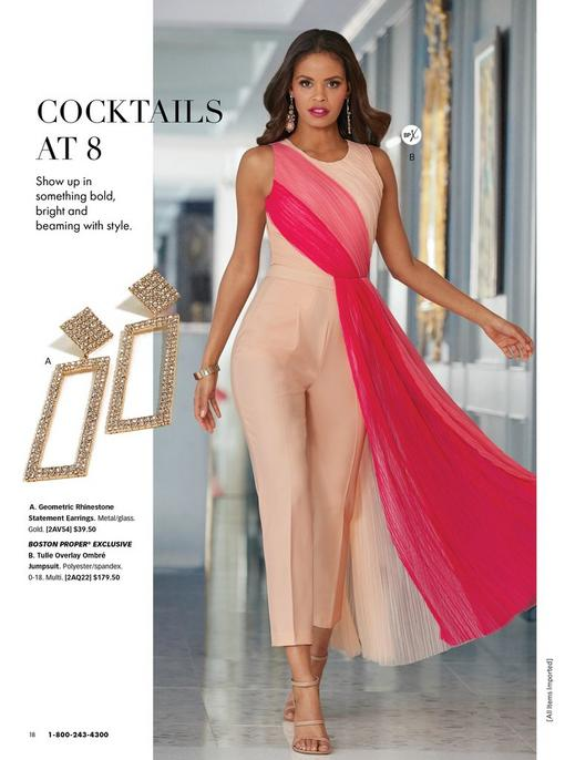 model wearing a tulle overlay pink ombre sleeveless jumpsuit, rhinestone studded rectangular earrings, pink jeweled earrings, and nude strappy heels.