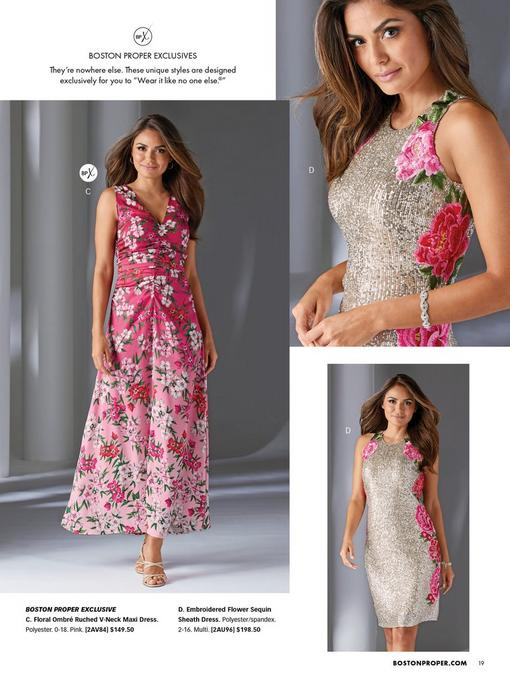 left model wearing a pink floral ombre ruched sleeveless maxi dress and strappy beige heels. right model wearing a sequin sheath dress with pink floral embroidery.