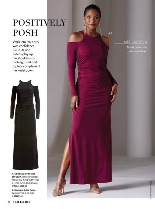 model wearing a wine colored cold-shoulder long-sleeve maxi dress with side slits, gold chain earrings, and gold diamante detail pumps. left image shows same dress in black.