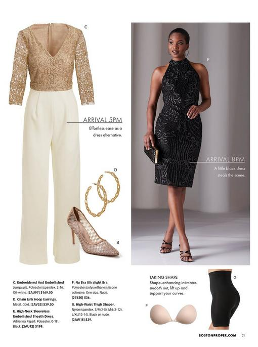 left panel showing a gold and off-white embroidered and embellished jumpsuit, gold diamante detail pumps, and gold chain link hoop earrings. right model wearing a black high-neck sleeveless embellished sheath dress and black strappy heels with a black clutch. bottom panel shoes a nude strapless and blackless bra and black thigh shaper.