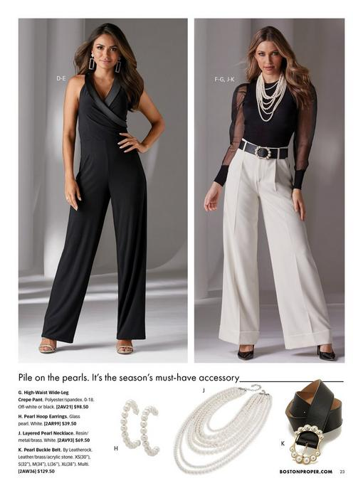 left model wearing a black and faux-leather surplice sleeveless jumpsuit, silver rectangular earrings, and silver heels. right model wearing a black organza dramatic sleeve sweater, high-waisted white wide-leg pants, black pumps, pearl embellished black belt, and layered pearl necklace.