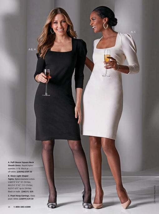 left model wearing a black puff-sleeve square-neck sheath dress, sheer tights, and black and white pumps. right model wearing a white puff-sleeve square-neck sheath dress, pearl hoop earrings, and tan pumps.