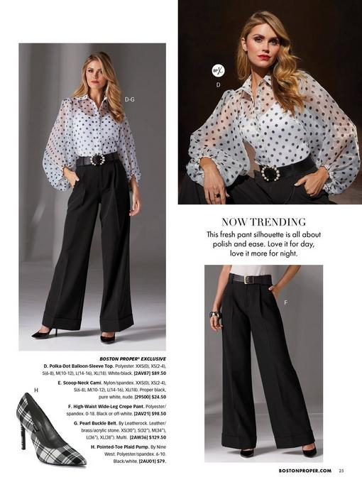 model wearing a sheer black and white polka dot balloon-sleeve top, white camisole underneath, a black pearl embellished belt, high-waisted black white-leg pant, and black pump. one silhouette image of a plaid black and white pump.