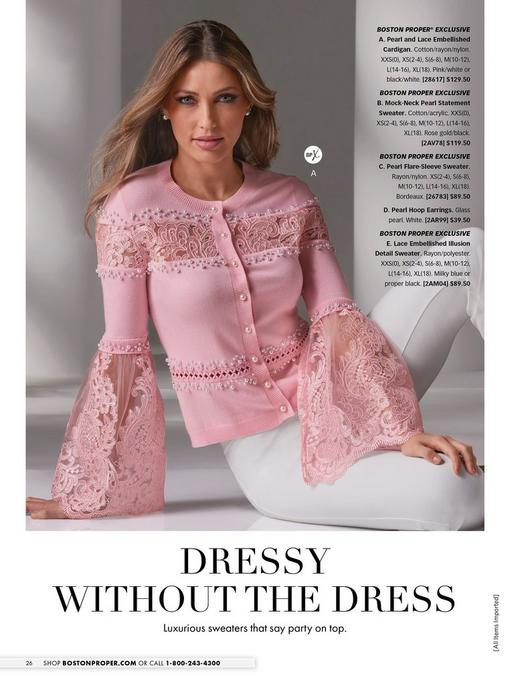 model wearing a pink pearl and lace embellished cardigan and white pants with pearl earrings.