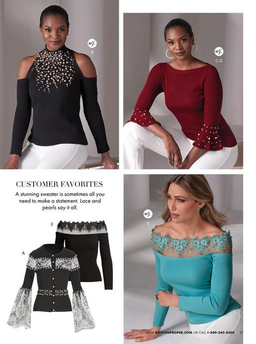 top left model wearing a black pearl embellished mock-neck sweater with cold-shoulders and white pants. top right model wearing a maroon pearl embellished flare-sleeve sweater, white pants, and pearl hoop earrings. bottom left panel showing a lace and pearl embellished cardigan in black and white and a black lace embellished illusion detail sweater. bottom right model wearing a lace embellished illusion detail sweater in blue.