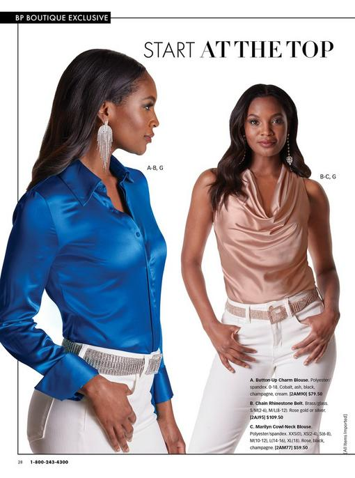 left model wearing a cobalt blue button down long sleeve blouse, chain rhinestone earrings, silver chain rhinestone belt, and white jeans. right model wearing a light pink sleeveless cowl-neck top, rose gold chain rhinestone belt, and white jeans.