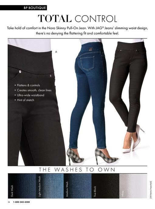 models wearing the nora skinny pull-on jean in black and denim.
