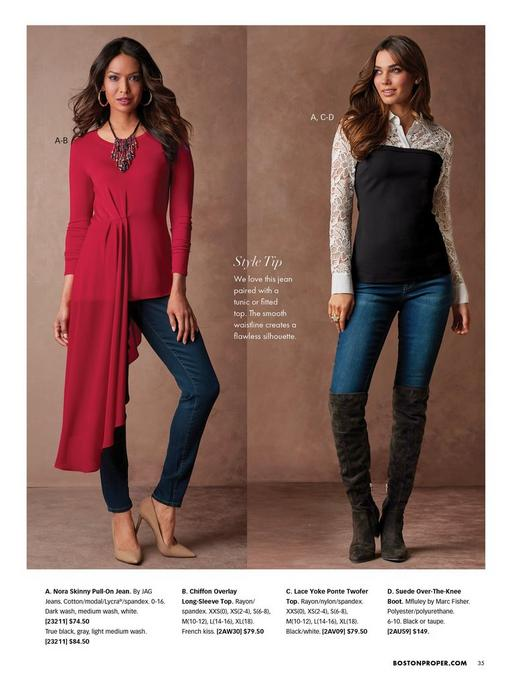 left model wearing a red chiffon overlay long-sleeve top, colorful beaded necklace, gold chain link hoop earrings, and tan pumps. right model wearing a lace yoke ponte twofer top in black and white, jeans, and black over-the-knee boots.