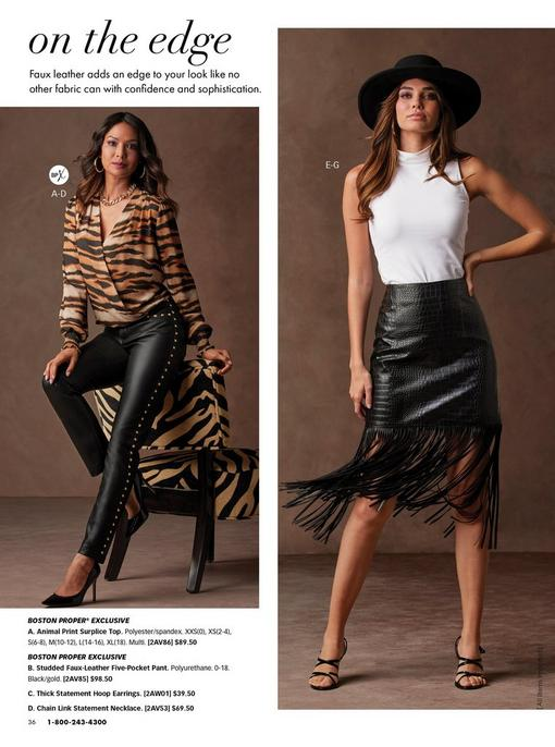 left model wearing a brown and black animal print surplice top, gold studded faux-leather pants, black heels, gold hoop earrings, and a thick gold chain necklace.