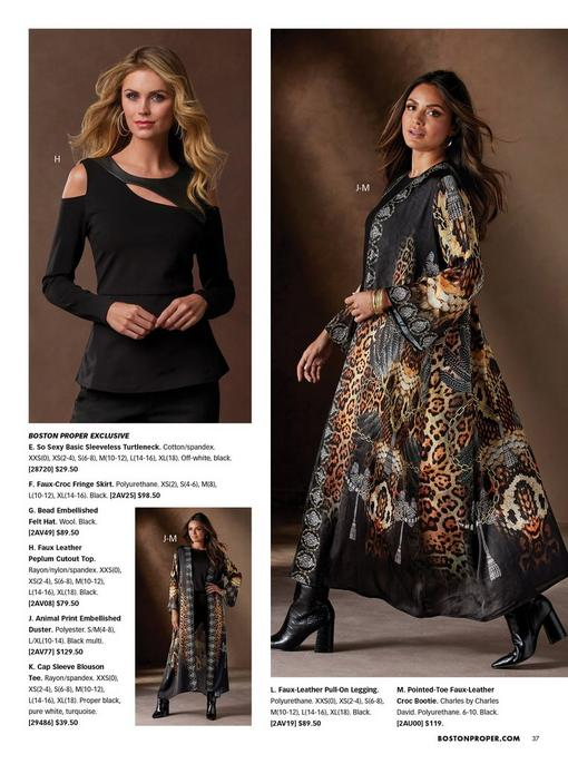 left model wearing a black faux-leather peplum cold-shoulder cutout top. right model wearing a gold embellished mixed animal print duster, black cap sleeve blouson tee, black faux-leather leggings, and black croc booties.
