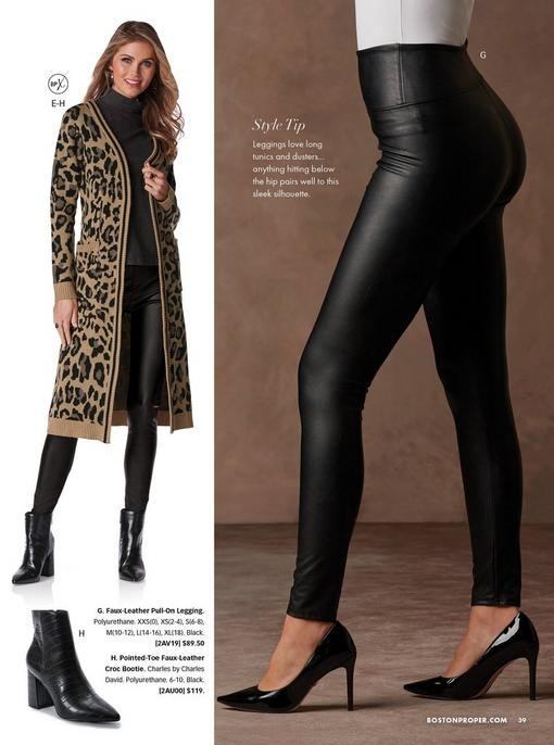 left model wearing an animal print sweater duster, black turtleneck top, faux-leather leggings, black croc booties, and gold hoop earrings. right model wearing faux-leather leggings, white top, and black pumps.