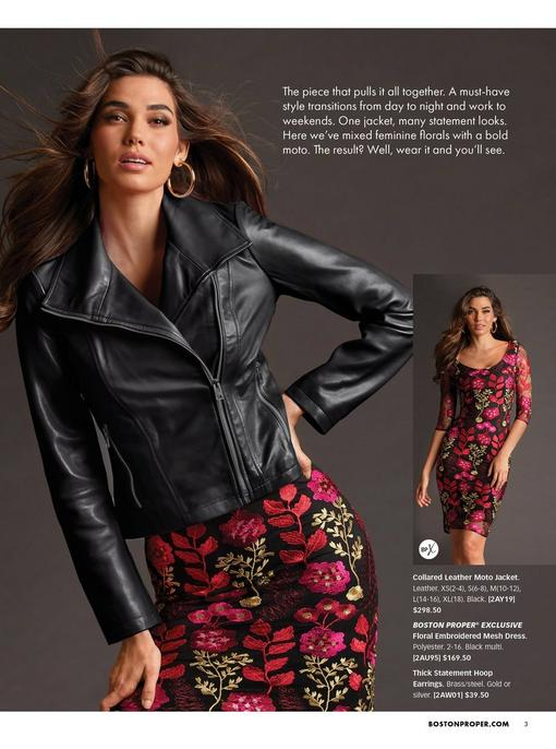left model wearing a black collared leather moto jacket over a floral embroidered mesh dress and gold hoop earrings. right model wearing the dress alone.