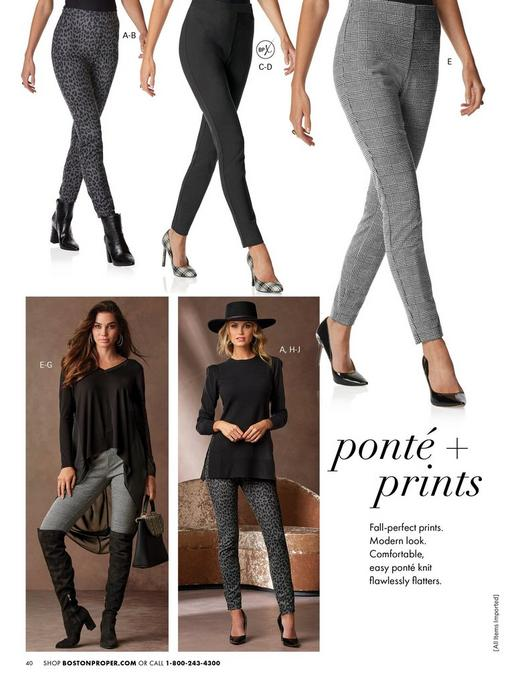 top panel shows models wearing the gray leopard print leggings with black booties, black faux-leather leggings with black and white plaid heels, and black and white plaid leggings with black pumps. bottom left model wearing plaid leggings, black high-low chiffon top, black over-the-knee tops, and holding a bag. bottom right model wearing a black puff-sleeve side-slit sweater, black hat, gray and black leopard print leggings, and black pumps.