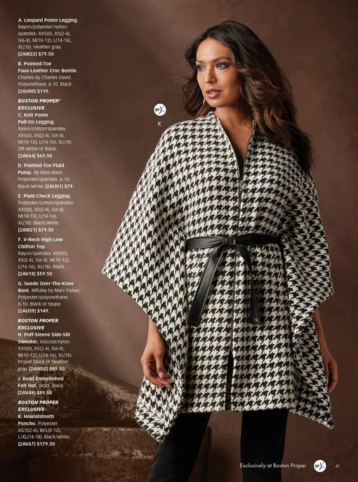 model wearing a black and white houndstooth poncho with a tied waist and black pants.