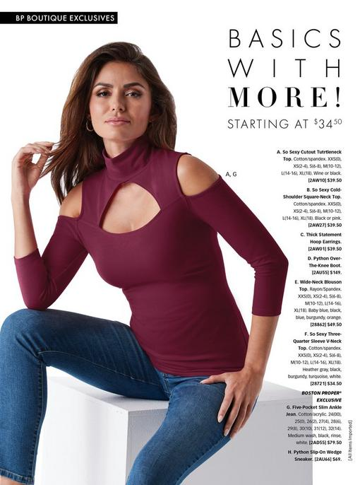 model wearing a cutout cold-shoulder cutout turtleneck top in wine and jeans.