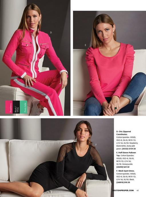 top left model wearing a pink and white two-piece warm up. top right model wearing a pink scoop-neck puff-sleeve top and jeans. bottom model wearing a black mesh sport dress.
