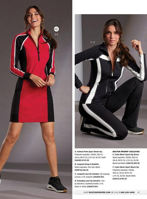 left model wearing a red and black color block long-sleeve sport dress and black sneakers. right model wearing a black and white color-block sport warm-up and black sneakers.