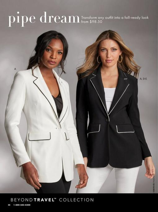left model wearing a white blazer with black piping, black v-neck blouse, and black pants. right model wearing a black blazer with white piping, white scoop-neck top, gold chain link hoop earrings, and white pants.