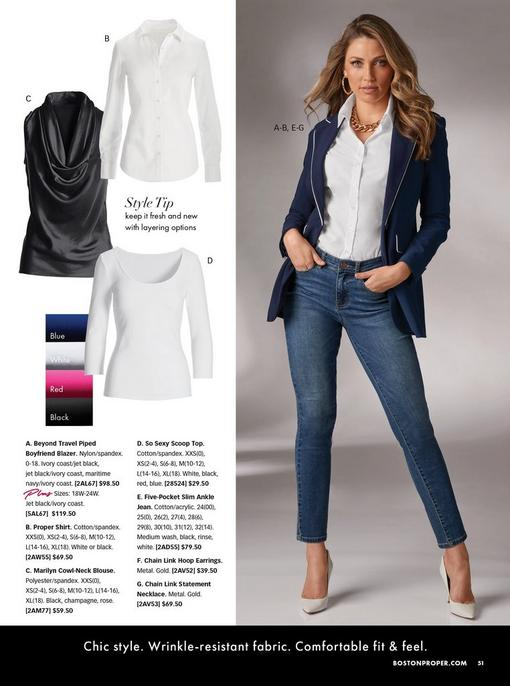 model wearing a blue blazer with white piping, white button-up top, jeans, gold chain link earrings, thick gold chain necklace, and white pumps. left panel has images of a black cowl-neck sleeveless top, white button-down shirt, and white scoop-neck three-quarter sleeve shirt.
