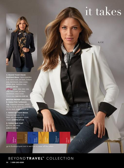 left model wearing a black blazer, black status print turtleneck, and jeans. right model wearing a white blazer, black button-up blouse, snakeskin print scarf, and jeans.
