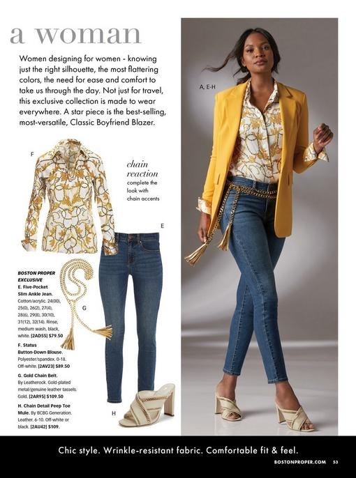 model wearing a yellow blazer, status print button-down blouse, gold chain belt, jeans, and off-white peep toe mule heel. left panel showing each item individually.