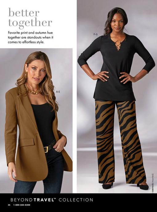 left model wearing a brown blazer, black tank top, black belt, jeans, gold hoop earrings, and thick gold chain necklace. right model wearing a black long sleeve gold detail top, black and brown zebra print palazzo pants, and black wedges.