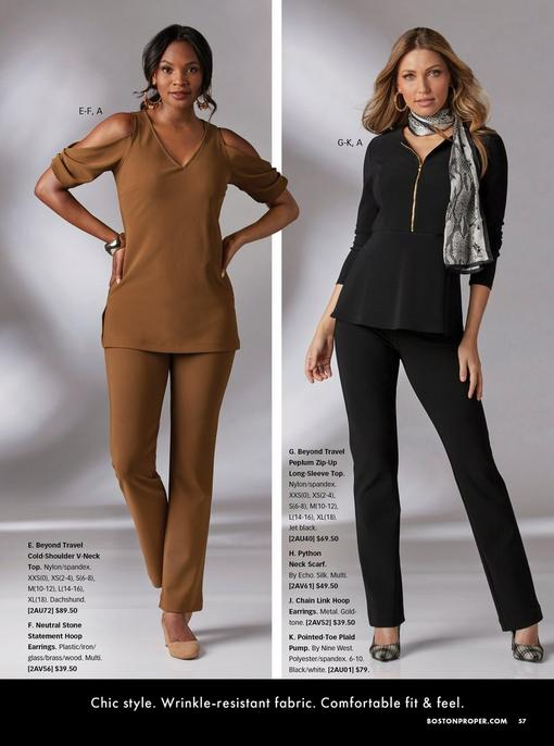 left model wearing a brown cold-shoulder v-neck top, brown pants, gold jewel embellished hoop earrings, and tan wedges. right model wearing a black peplum zip-up long-sleeve top, black pants, black and white plaid pumps, gold chain link hoop earrings, and a snakeskin print scarf.
