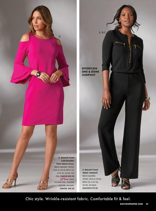left model wearing a hot pink cold-shoulder flare-sleeve dress and silver strappy heels. right model wearing a black three-quarter sleeve jumpsuit with gold zippers, black peep toe heeled mules, and gold chain link hoop earrings.