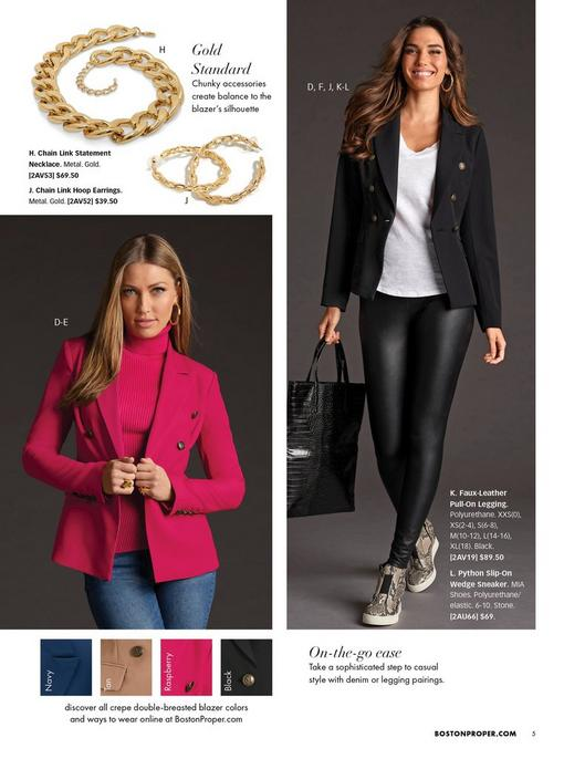left model wearing a pink double-breasted blazer, pink ribbed turtleneck sweater, gold hoop earrings, and jeans. right model wearing a black double-breasted blazer, white v-neck tee, faux leather leggings, and python slip-on wedge sneakers.