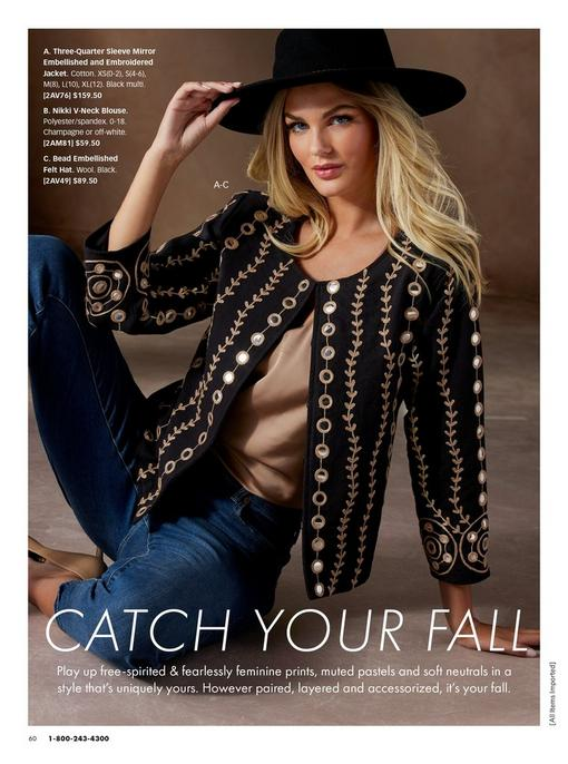 model wearing a black and gold mirrored and embroidered jacket, tan tank top, jeans, and a black hat.