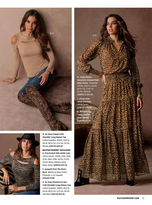 top left model wearing a tan cutout cold-shoulder long sleeve top, jeans, leopard print over-the-knee boots, and gold hoops. bottom left model wearing a brown and black zebra striped cutout long sleeve cold-shoulder top, jeans, and a black hat. right model wearing a leopard print long-sleeve smocked maxi dress, gold hoop earrings, and black croc booties.