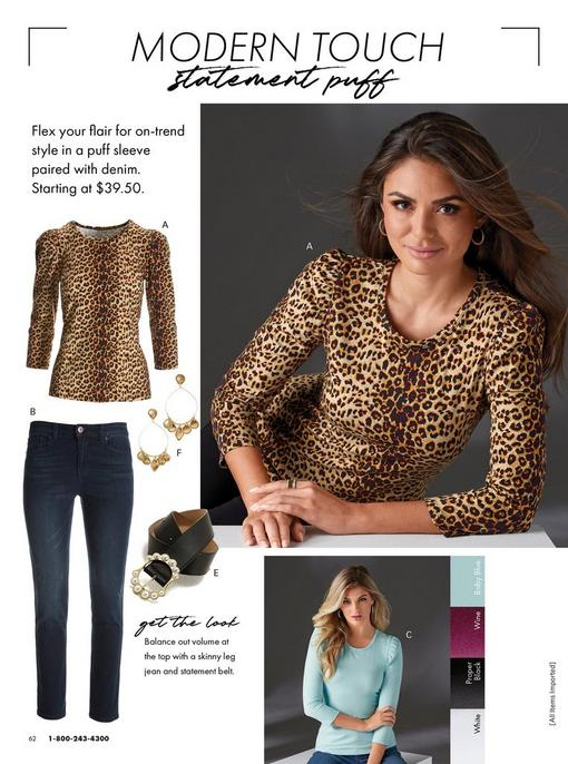 left panel showing a leopard print puff-sleeve top, jeans, gold dangling earrings, and a black belt with pearl embellishments. top right model wearing a leopard print puff-sleeve top. bottom right model wearing a light blue puff-sleeve top.