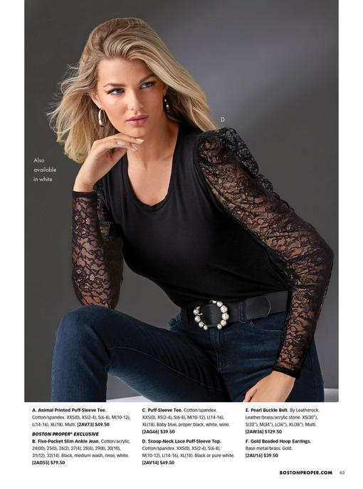 model wearing a lace puff-sleeve black scoop-neck top, pearl embellished black belt, and jeans.