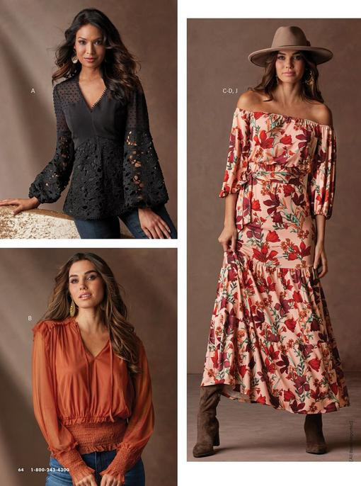 top left model wearing a lace black v-neck balloon sleeve top and jeans. bottom left model wearing a burnt orange long sleeve smocked top. right model wearing a pink off-the-shoulder floral maxi dress, bead embellished hat, and over the knee boots.