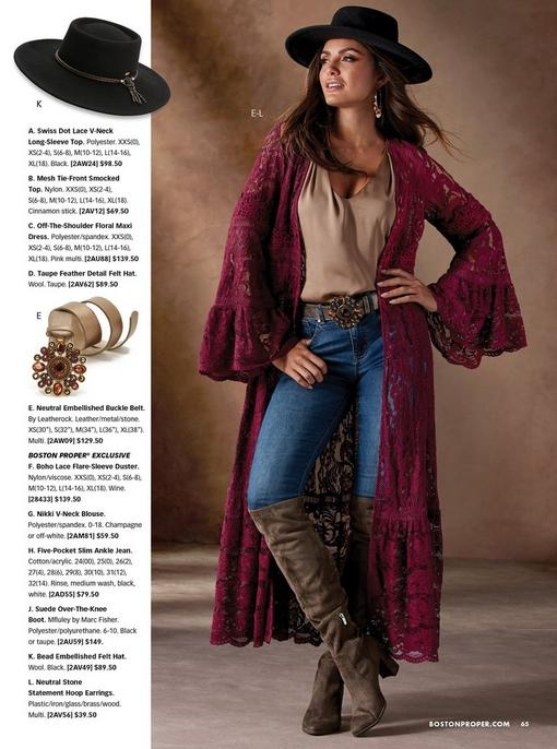 model wearing a burgundy lace flare-sleeve duster, tan sleeveless top, jeweled tan belt, jeans, over-the-knee boots, embellished hoop earrings, and a black hat.