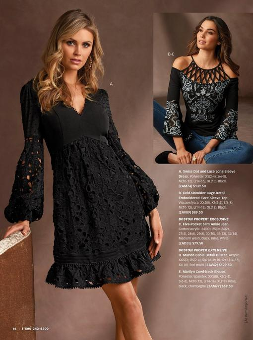 left model wearing a black swiss dot and lace long-sleeve dress and gold hoop earrings. right model wearing a black cage-detail cold-shoulder embroidered flare-sleeve top and jeans.