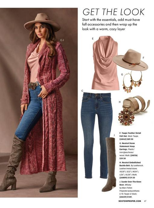 left model wearing a marled cable duster in pink, a light pink cowl neck sleeveless top, jeweled brown belt, jeans, brown over-the-knee boots, and taupe felt hat. right panel shows light pink sleeveless cowl neck top, jeans, taupe felt hat, gold hoop earrings, jewel embellished belt, and brown over-the-knee boots.