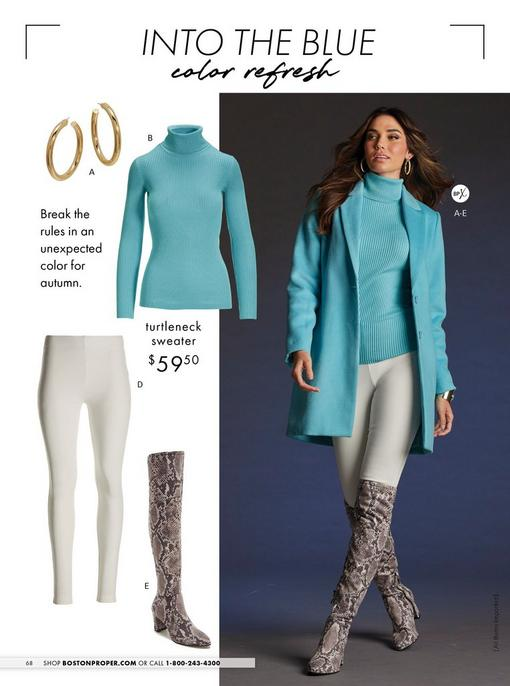 model wearing a light blue topper coat, light blue ribbed turtleneck sweater, white leggings, snakeskin printed over-the-knee boots, and gold hoop earrings. left panel shows each item individually.