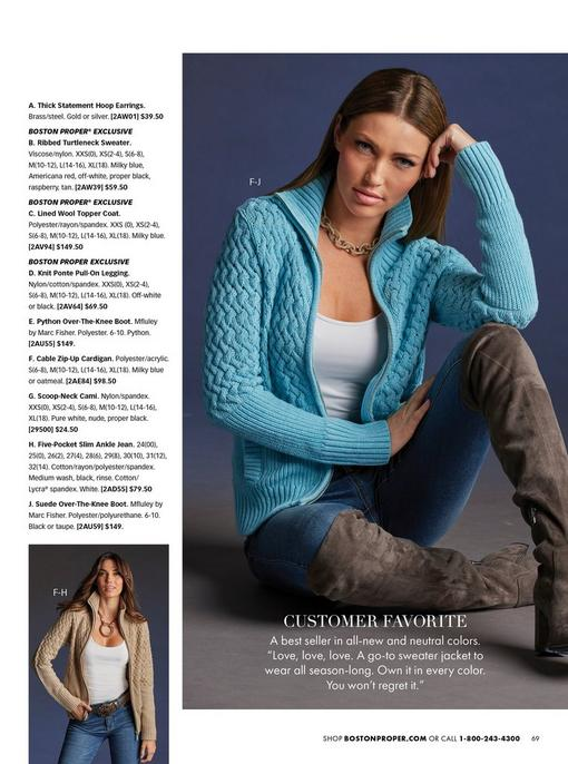 model wearing a light blue cable knit zip-up sweater, white tank top, jeans, and over-the-knee boots. bottom left model wearing a tan cable knit sweater, white tank top, embellished belt, and jeans.